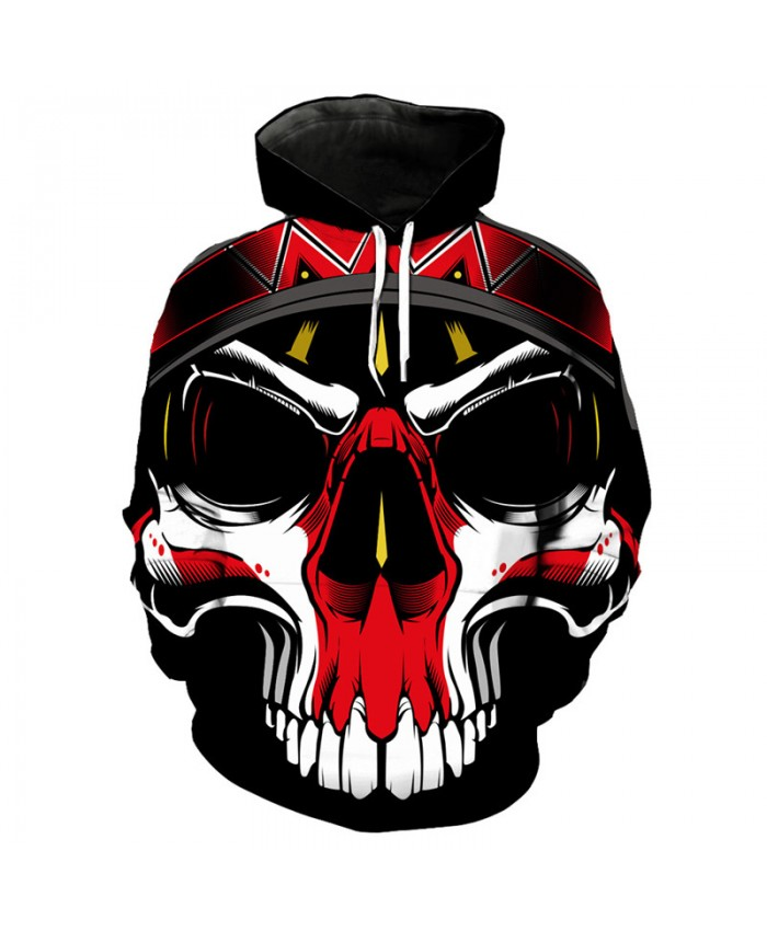 Men's 3D Hoodie Red skull printed hooded pullover hip hop streetwear Tracksuit Pullover Hooded Sweatshirt