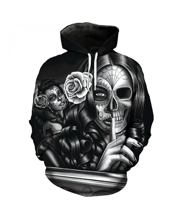 Men's Casual Hoodie Skull Series Makeup Beauty Lady Skull Print Fashion Hooded Sweatshirt Pullover Tracksuit Pullover Hooded Sweatshirt