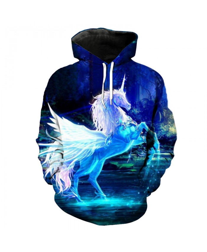 Men's Day Horse Unicorn Printing Fashion Hooded Sweatshirt Pullover Casual Hoodie Autumn Tracksuit Pullover Hooded Sweatshirt