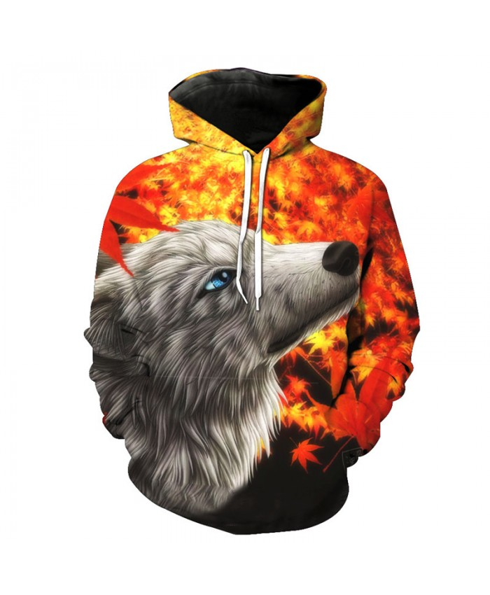 Men's Hoodies Maple Leaf White Wolf Fashion Hooded Sweatshirt Hoodies Tracksuit Pullover Hooded Sweatshirt
