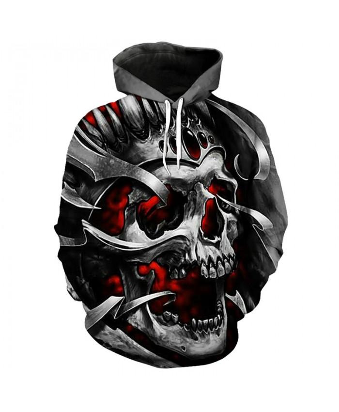 Men's fashion hoodie 3D howling metal skull printing hip hop streetwear hooded pullover Tracksuit Pullover Hooded Sweatshirt