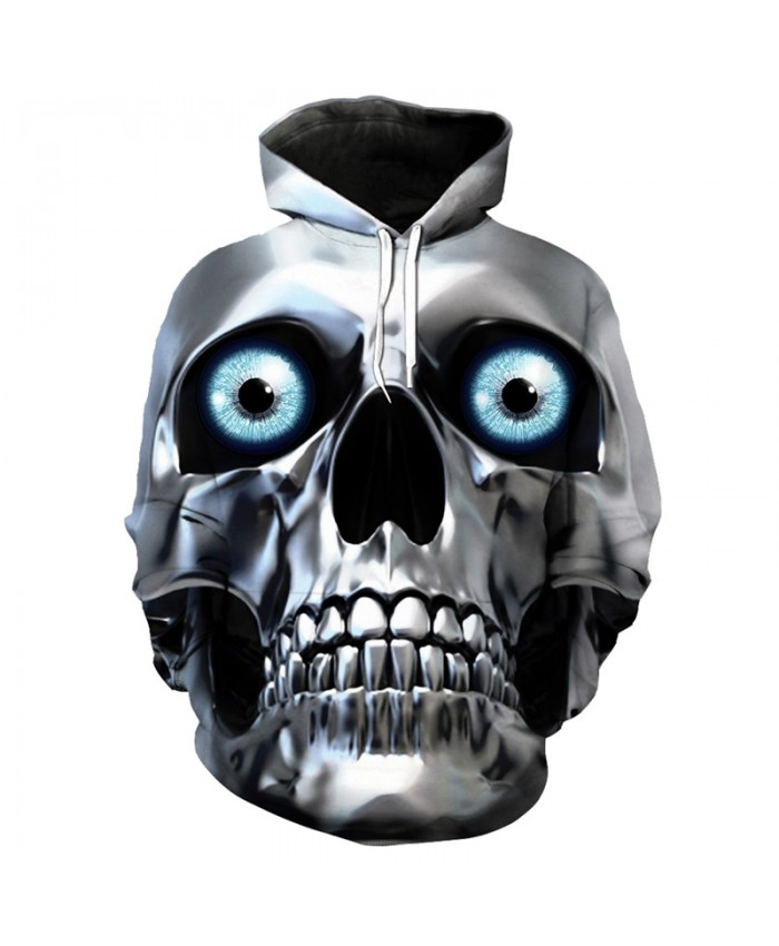 Men's hoodie metal skull mask 3D hip hop hooded pullover sportswear Tracksuit Pullover Hooded Sweatshirt