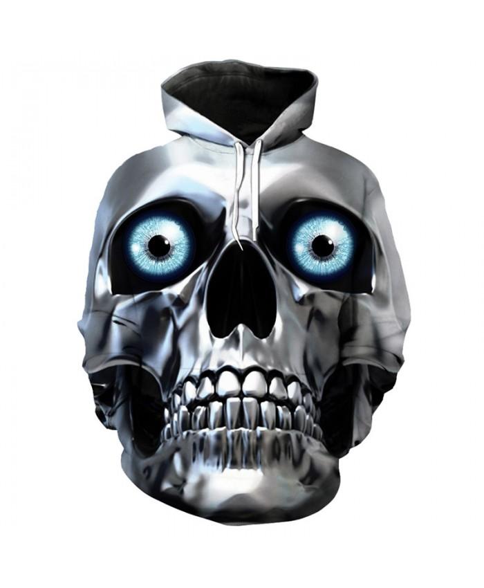 Men's hoodie metal skull mask 3D hip hop hooded pullover sportswear Tracksuit Pullover Hooded Sweatshirt