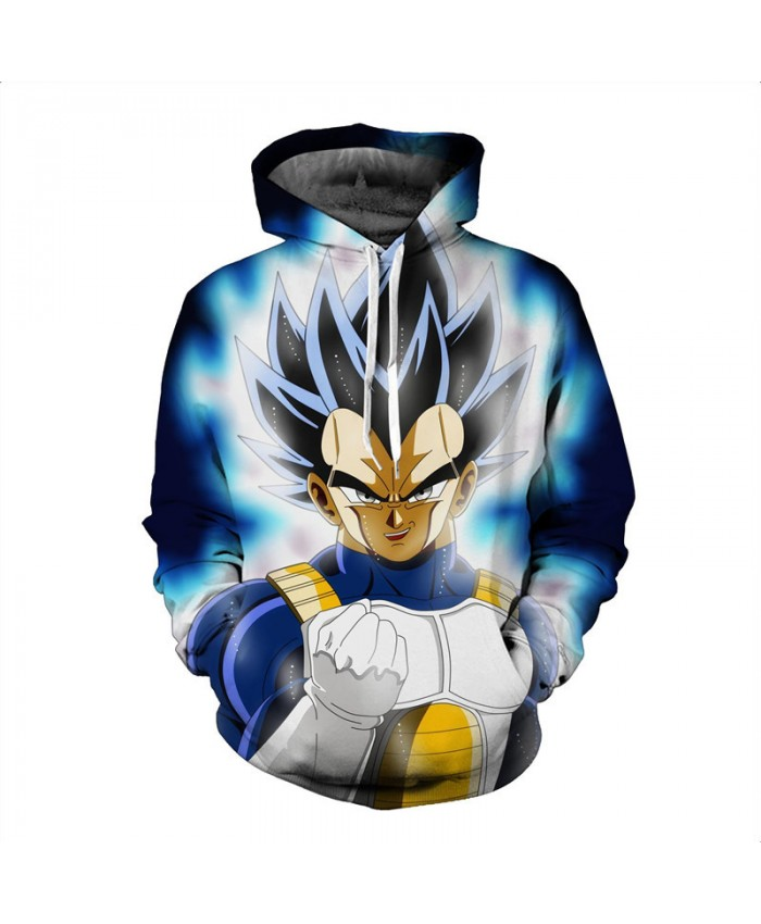 Men 3D Hoodie Sweatshirt Dragon Ball Anime Hoodies Hooded Coat Super Saiyan Blue Vegeta Printed Cartoon Sudaderas Hombre