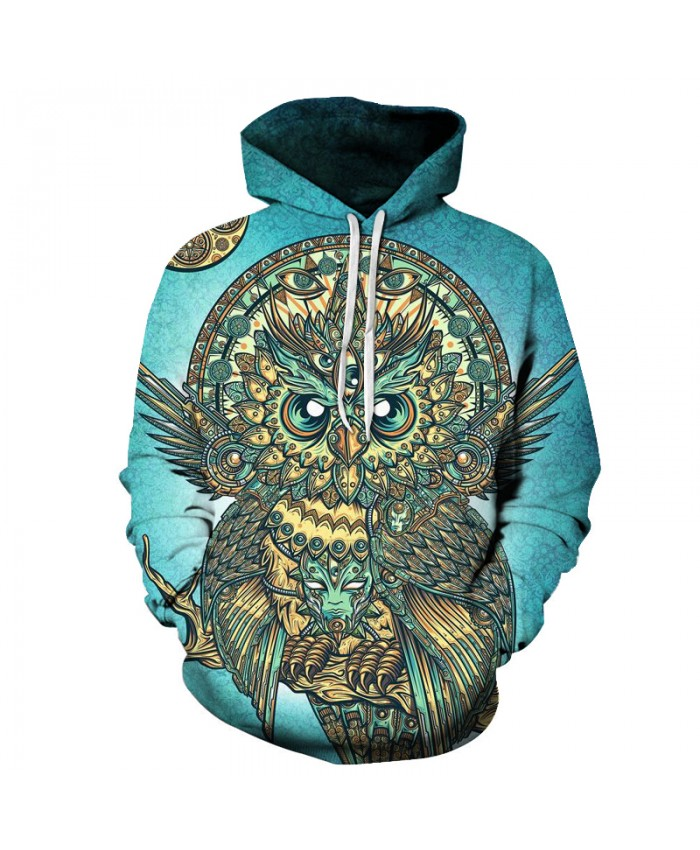 Men Brand 3D Hoodie-Sweatshirts Owl Printed Hot Funny Pullover Casual Tracksuits Animal Hoodies Boy Hooded Outwear New Coat