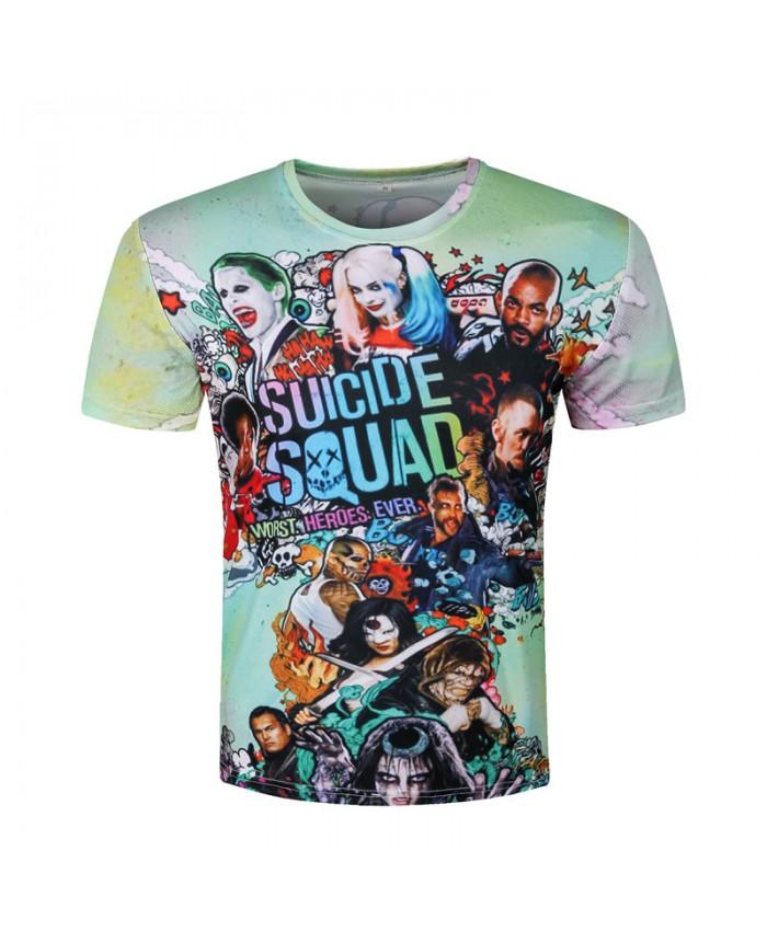 Men Harley Quinn T-shirts 3D Joker Suicide Squad T shirts Funny Movie Skateboard Tops Fashion Short Sleeve Deadshot