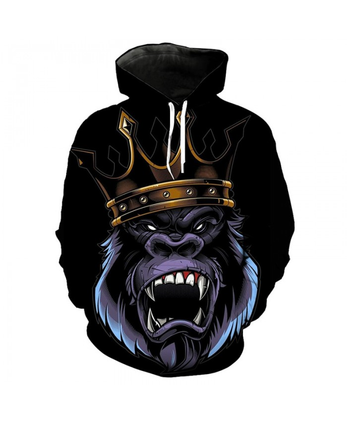 Men Women 3D Hoodie Black pullover chimpanzee king fashion sweatshirt