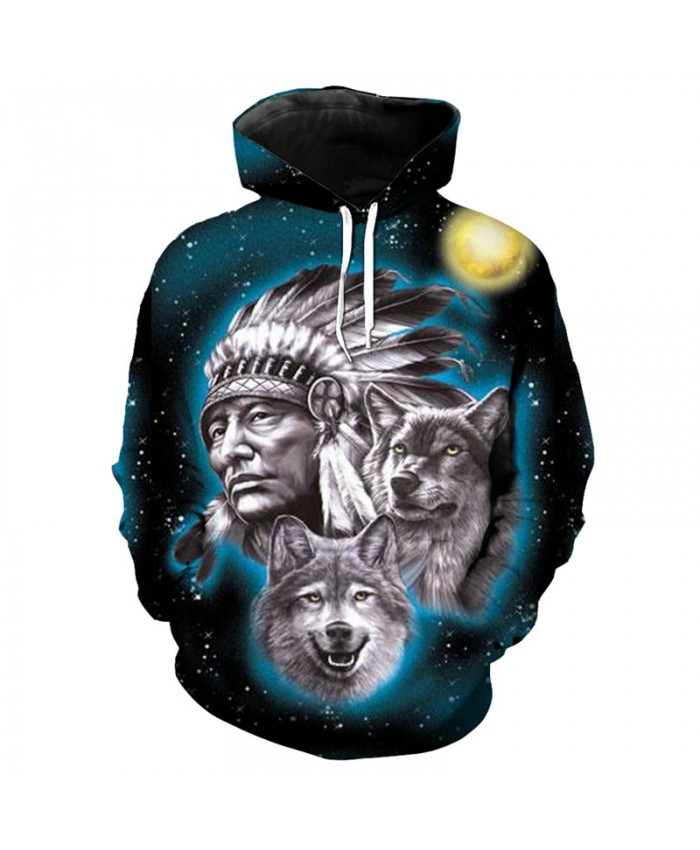 Men Women 3D Hoodie Starry Native American Wolf Print Fashion Sweatshirt Pullover