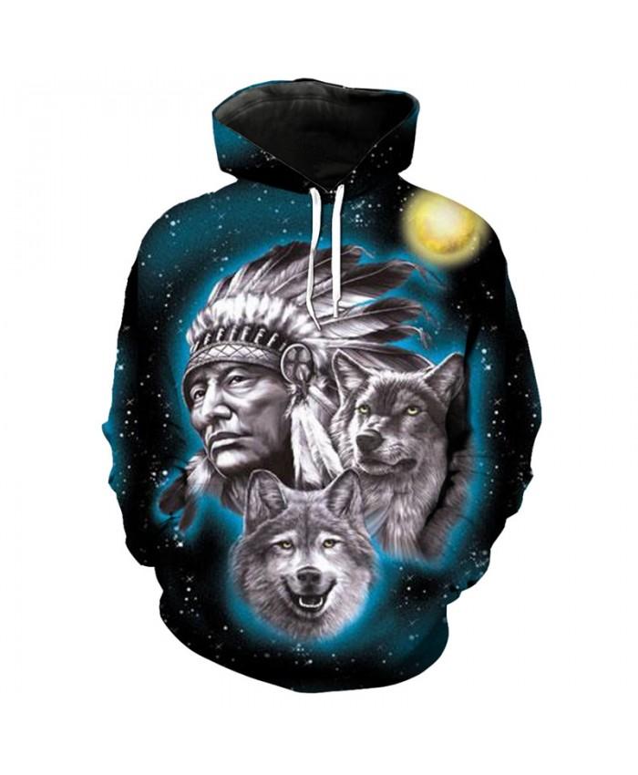 Men Women 3D Hoodie Starry Native American Wolf Print Fashion Sweatshirt Pullover