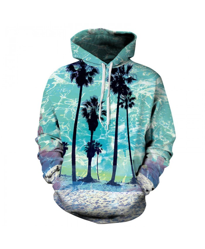 Men Women Fashion Hooded Sweatshirts Coconut tree 3D printing Casual Hoodies