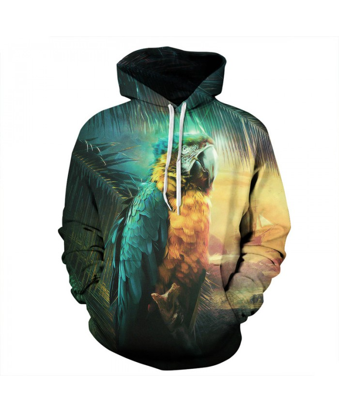 Men Women Fashion Hooded Sweatshirts Lonely Parrot 3D printing Casual Hoodies