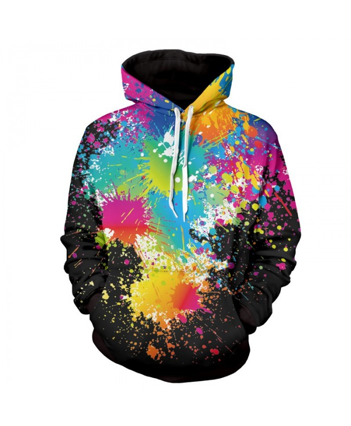 Men Women Fashion Hoodies 3D Printing Bright Color Paint Patterns Cool Sweatshirt