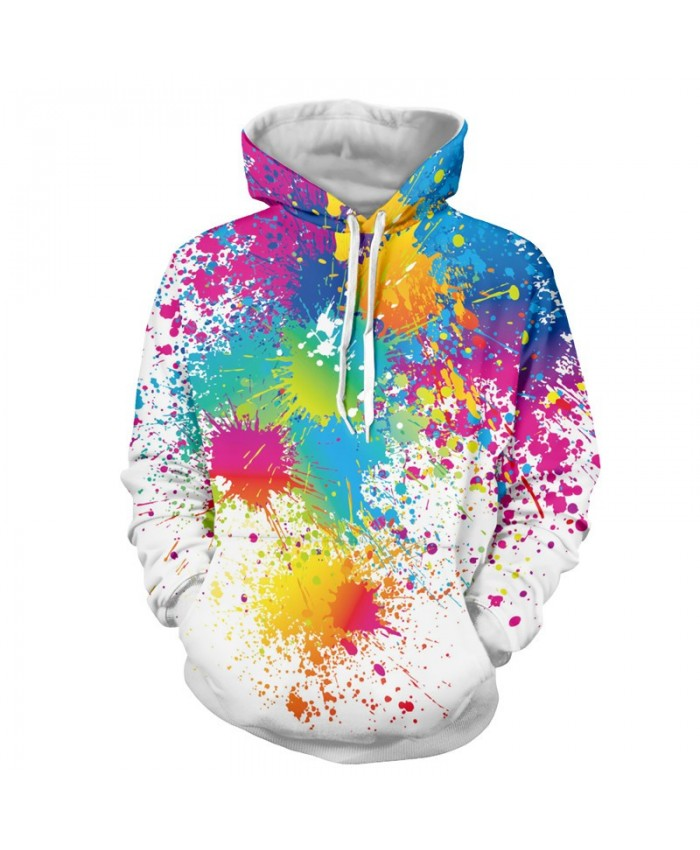 Men Women Fashion Hoodies 3D Printing Bright Color Paint Patterns Cool Sweatshirt A