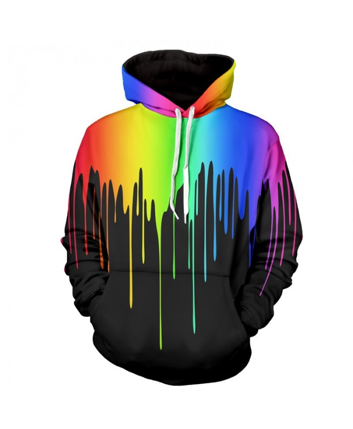 Men Women Fashion Hoodies 3D Printing Bright Color Paint Patterns Cool Sweatshirt B