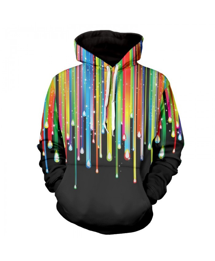 Men Women Fashion Hoodies 3D Printing Bright Color Paint Patterns Cool Sweatshirt D