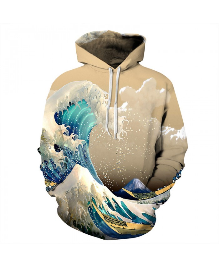 Men Women Hooded Sweatshirt Sky Snow Mountain Waves Printing Fashion Hoodies Men Women Cool Sportwear