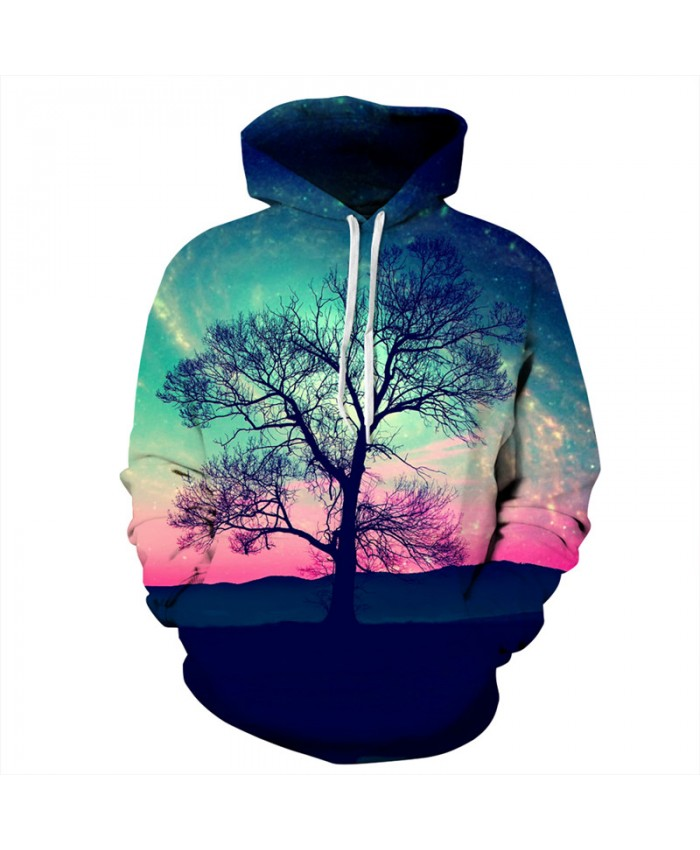 Men Women Hoodies Color Sky Desert Tree Printing Fashion Hooded Sweatshirt Men Women Casual Sportwear