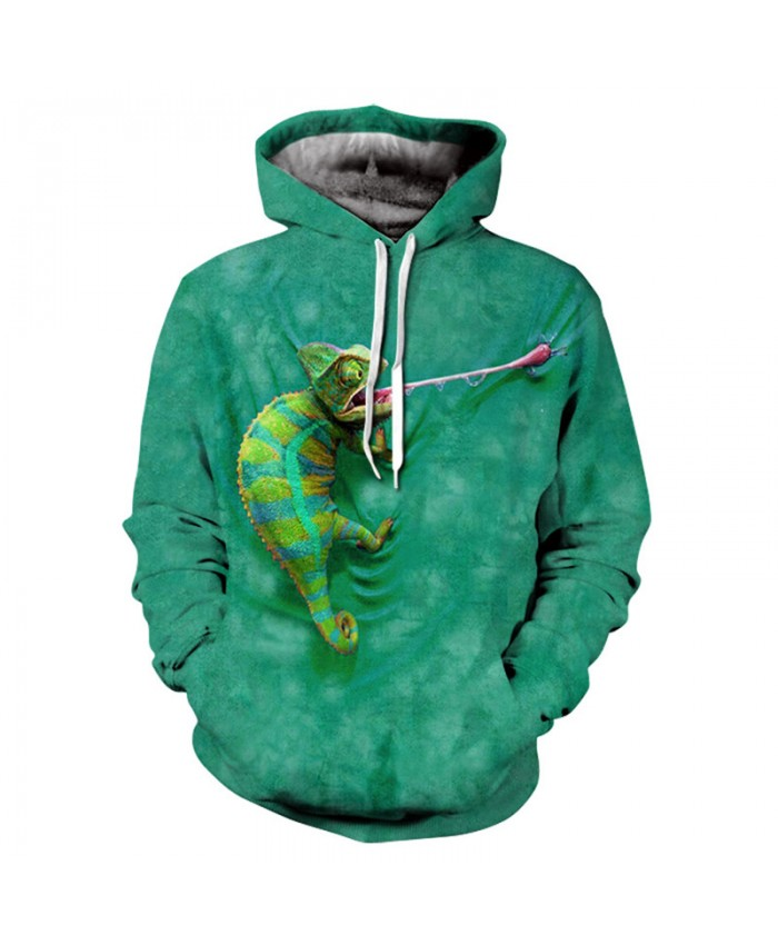 Men&Women Hoodies Hoody Sweatshirts Chameleon 3D Print Animal Couple Plus Size Hoodie Pullovers Autumn Windbreaker Outwear Tracksuit