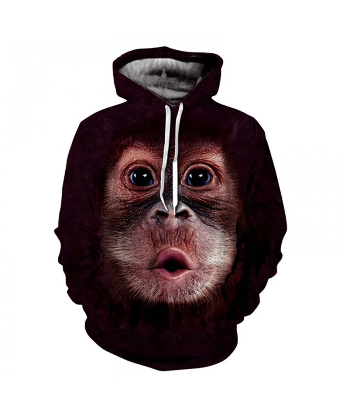 Men&Women Hoodies Hoody Sweatshirts Orangutan 3D Print Animal Couple Plus Size Hoodie Pullovers Autumn Windbreaker Outwear Tracksuit