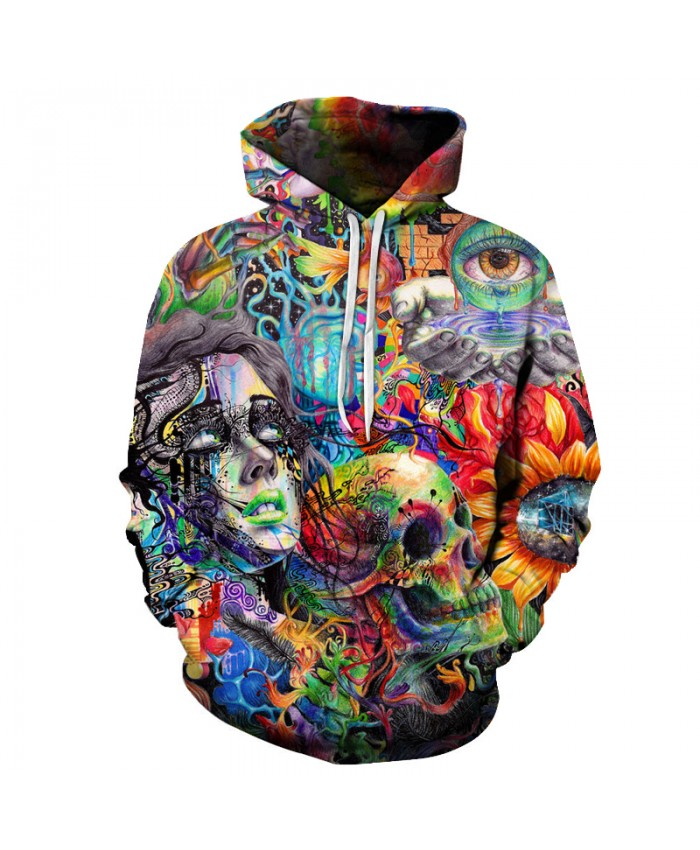 Men Women Sweatshirts Paint Skull 3D Printed Hoodies Hooded Pullover Brand 6xl Qaulity Tracksuits Boy Coats Fashion Outwear New