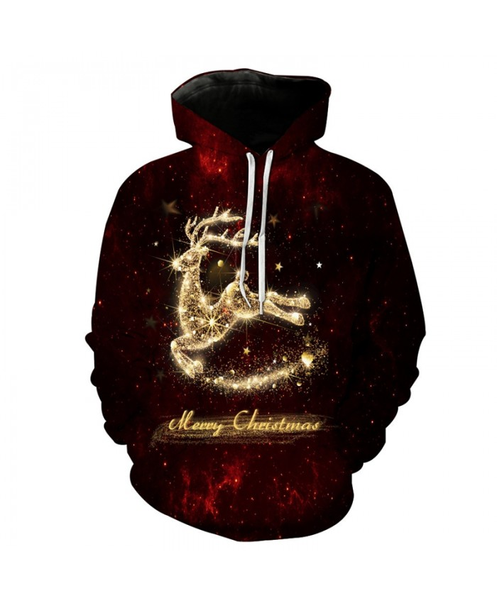 Merry Christmas Deer Hooded Sweatshirts EUR Size Mens Hoodies Autumn Winter Casual Unisex Sweatshirts 3D Pullover Tracksuit