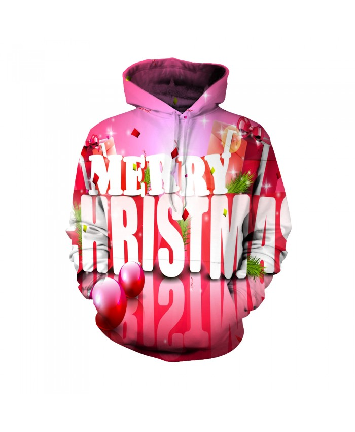 Merry Christmas pink gift box pattern Funny Fashion Christmas Hoodie Sweatshirt