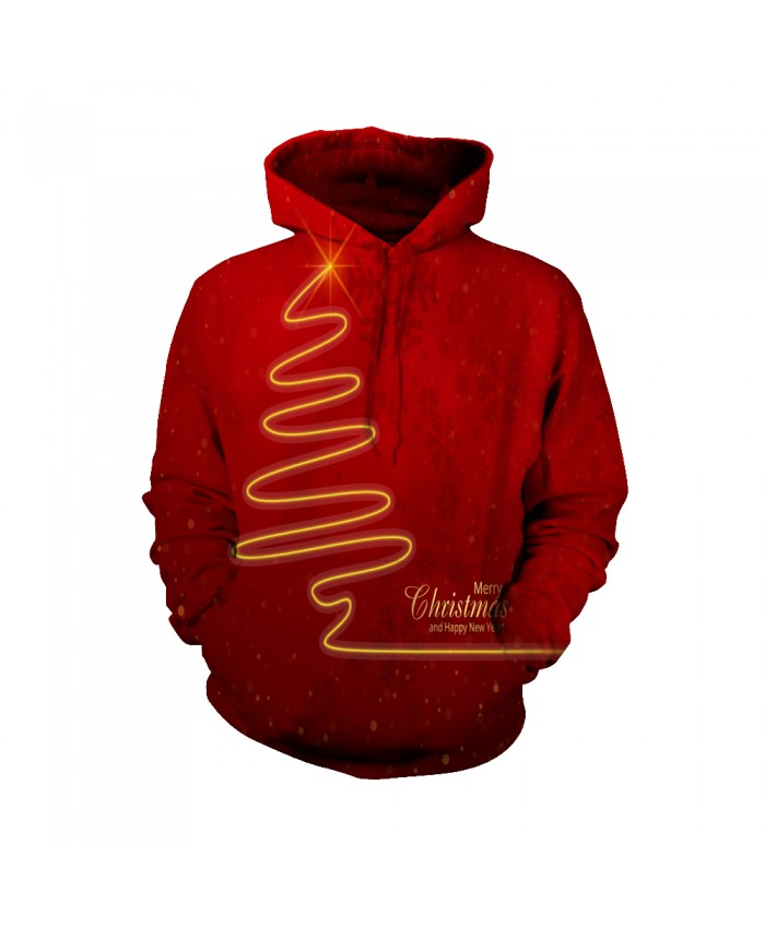 Merry Christmas red hoodie with golden pattern Funny Fashion Christmas Hoodie Sweatshirt