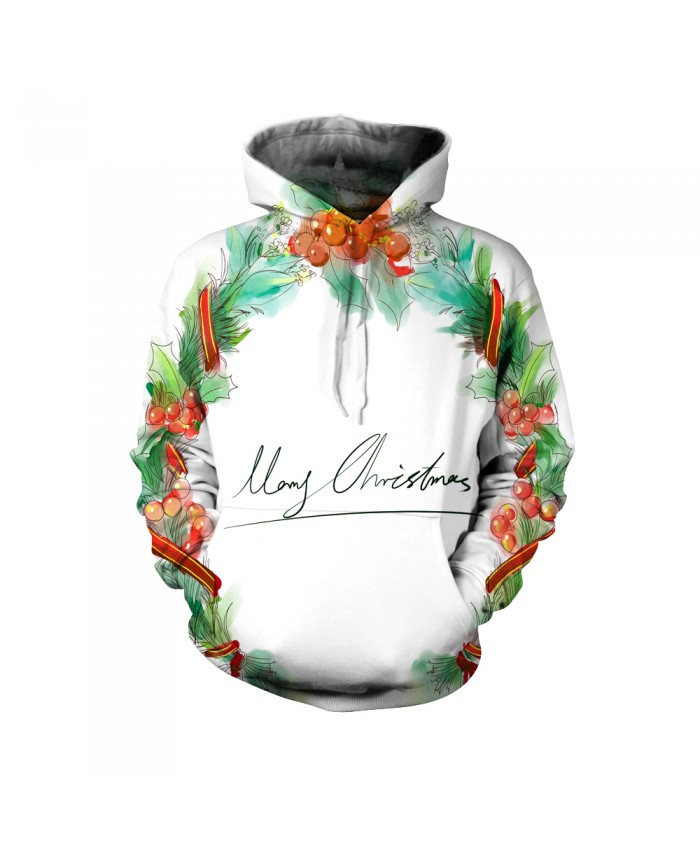 Merry Christmas the pattern of Christmas Garland Funny Fashion Christmas Hoodie Sweatshirt