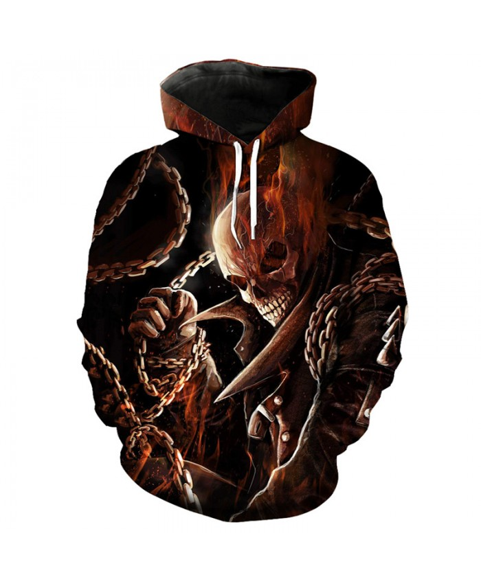 Metal chain skull printed fashion hooded sweatshirt casual pullover Tracksuit Pullover Hooded Sweatshirt