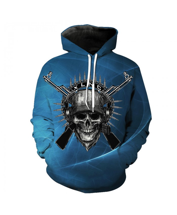 Metallic Gun Print Men's Pullover New Blue Hooded Sweatshirt Tracksuit Pullover Hooded Sweatshirt