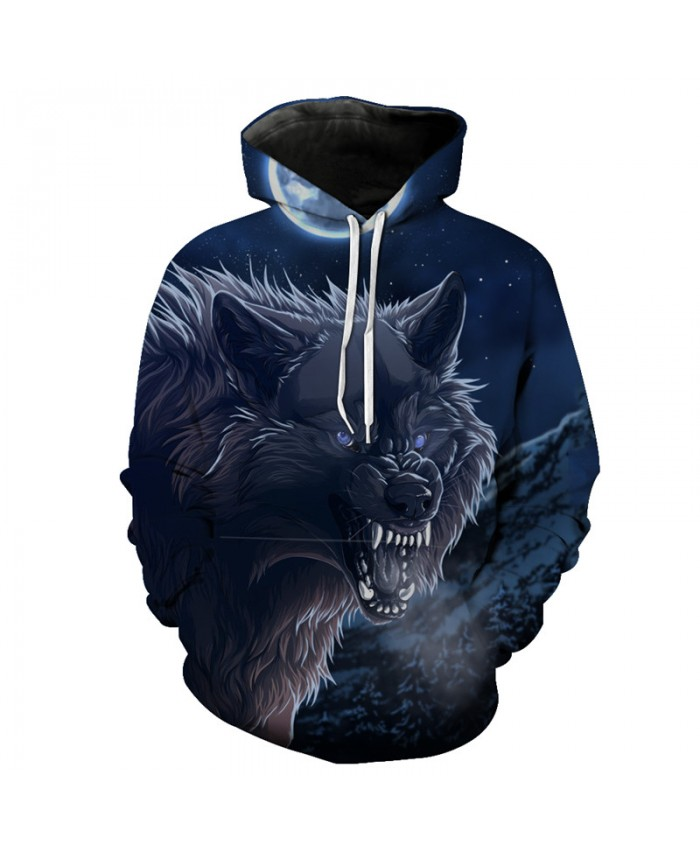 Midnight Howl Angry Wolf Hooded Sweatshirt Neutral Hoodies Men Women Casual Pullover Sportswear