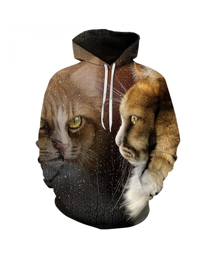 Mirror Surface Cat 3D Printed Mens Pullover Sweatshirt Pullover Casual Hoodie Men Streetwear Sweatshirt Hoodie Tops