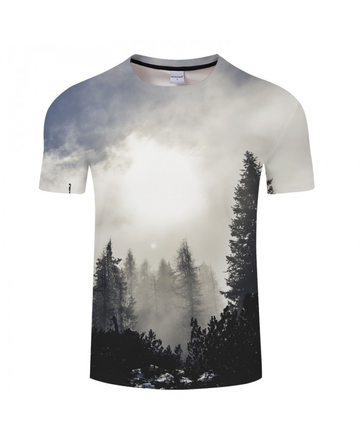Misty Forest 3D Print t shirt Men Women tshirt Summer Casual Short Sleeve O-neck Tops&Tee Streetwear White Drop Ship