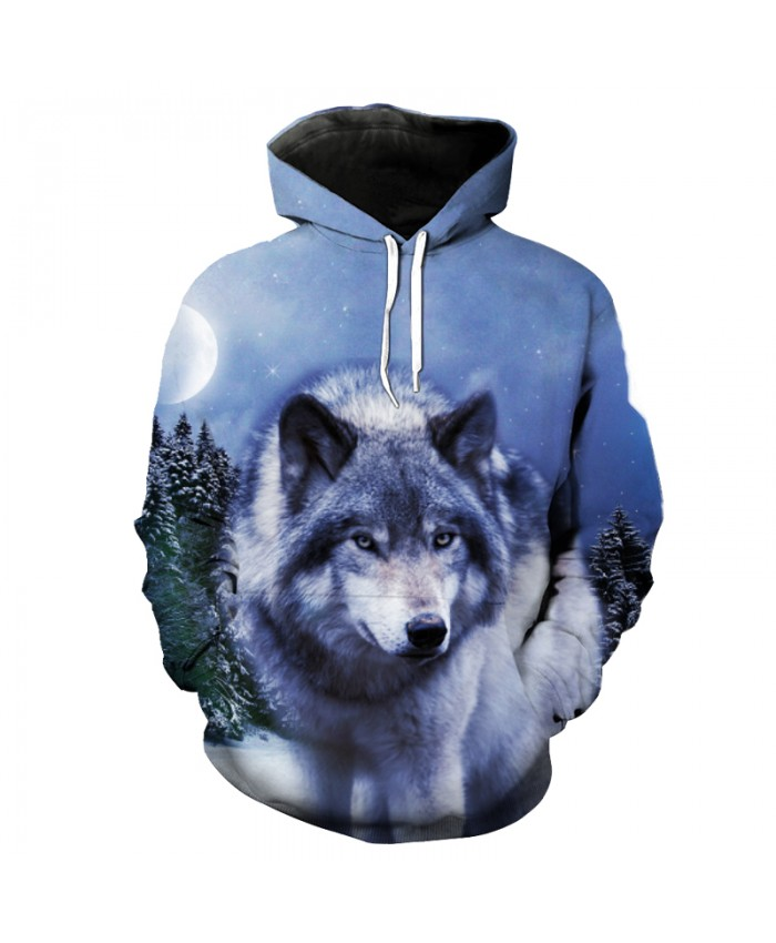 Month Snow Forest Hoodie Sweatshirt Fashion Wolf style Hooded Pullovers Men Women Casual Pullover Sportswear
