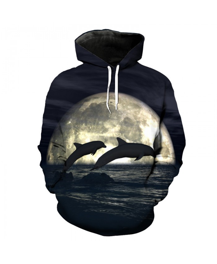 Moon Jumping Dolphin Print Fashion Casual Hoodie Sweatshirt Sportswear Men Women Casual Pullover Sportswear