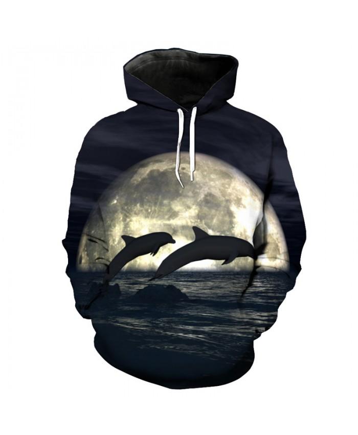 Moon Jumping Dolphin Print Fashion Casual Hoodie Sweatshirt Sportswear Men Women Casual Pullover Sportswear