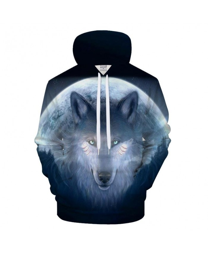 Moon Wolf Hoodies 3D Hoody Men Women Sweatshirt Animal Tracksuit Funny Coat Streetwear Clothing Harajuku DropShip