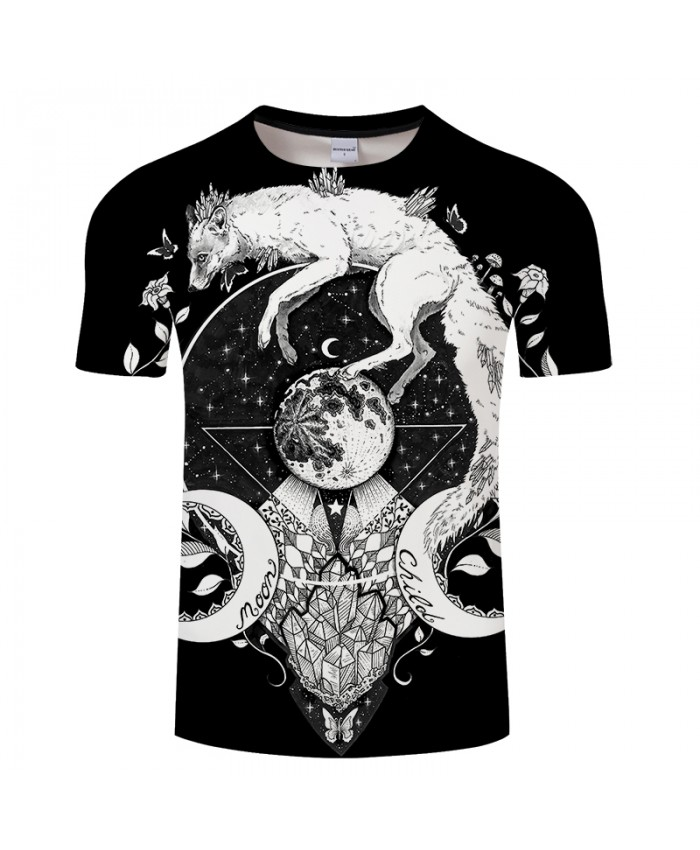 Moon child black by KhaliaArt Fox 3D Print t shirt Men Women tshirt Cartoon Short Sleeve O-neck Tops&Tee Summer 2019 Drop Ship