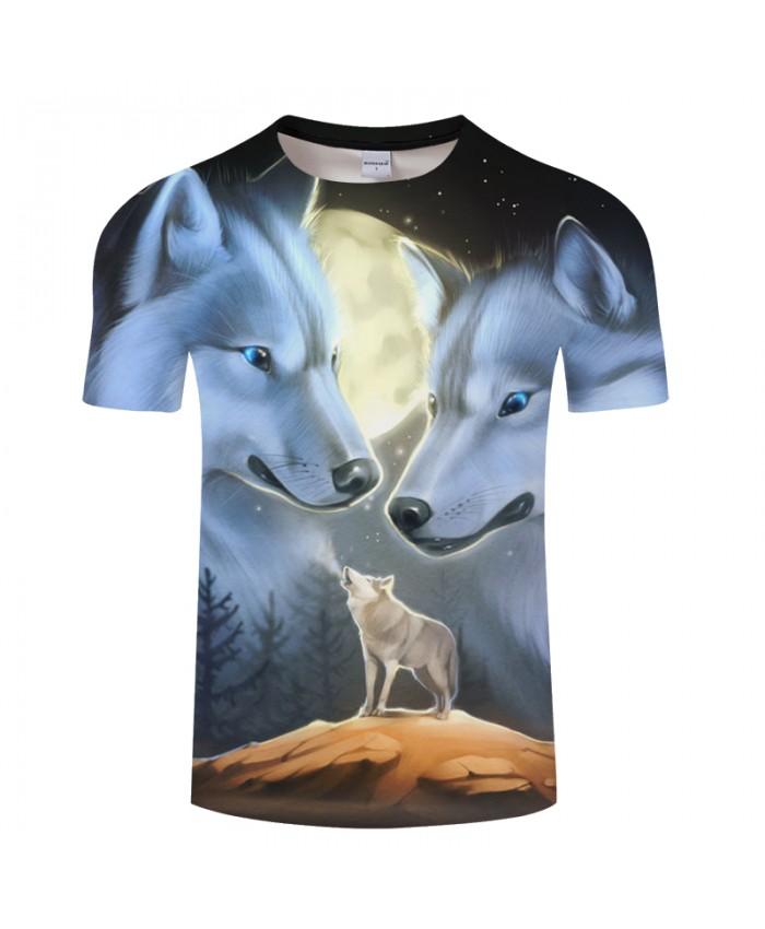 Moonlight Wolfs 3D Printed Men's t shirt Women t-shirts 2021 Summer O-neck Short Sleeve Tops Tees Drop Ship