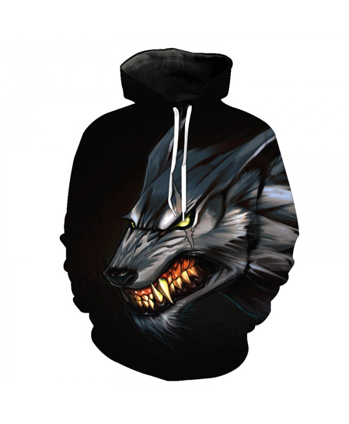 More Teeth Fierce Metal Wolf Casual Hooded Sweatshirt Street Pullovers Men Women Casual Pullover Sportswear