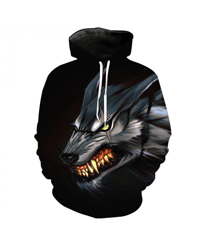 More Teeth Fierce Metal Wolf Casual Hooded Sweatshirt Street Pullovers Men Women Casual Pullover Sportswear