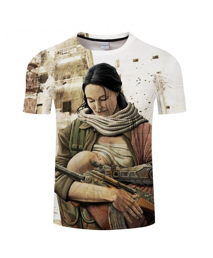 Mother Feeds The Baby To Eat Anime Game 3D Print tshirt Men tshirt Summer Casual Short Sleeve Male O-neck Drop Ship
