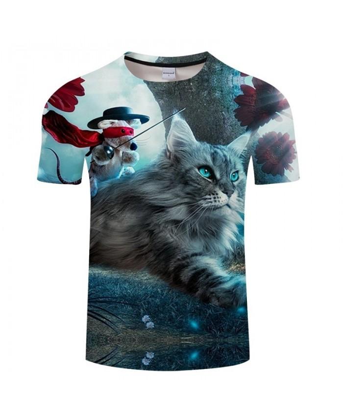 Mouse Holding Sword Cat 3D Printed Men tshirt Crossfit Shirt Casual Summer Short Sleeve Male tshirt Brand Men O-neck