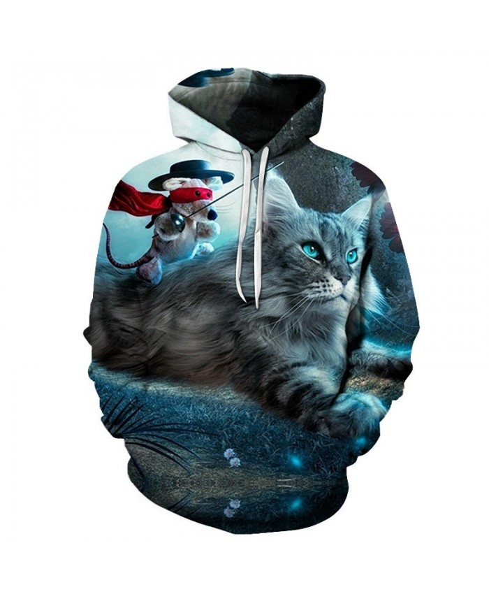 Mouse Holding Sword Cat 3D Printed Mens Pullover Sweatshirt Pullover Casual Hoodie Men Fashion Hoodie Streetwear