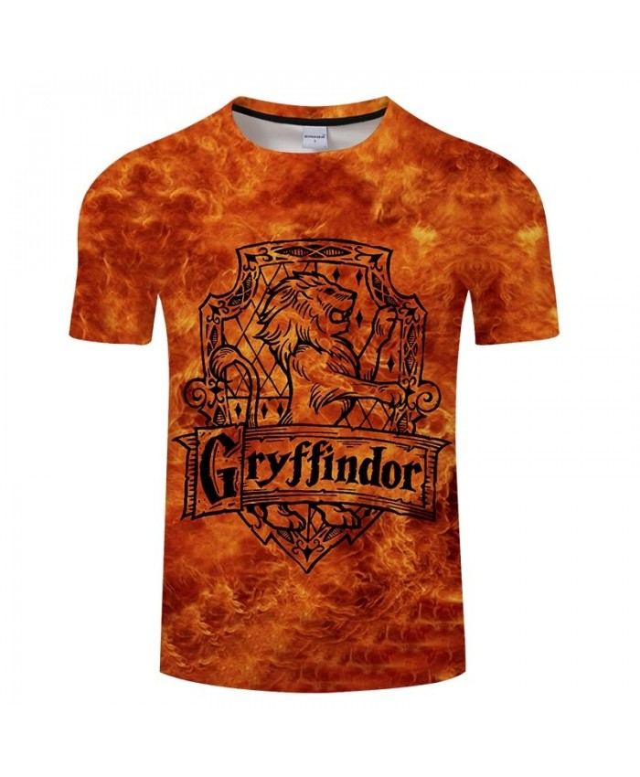 Movie 3D Print Gryffindor Men tshirt Crossfit Shirt Casual Summer Short Sleeve Male T Shirt Men Brand Round Neck Men