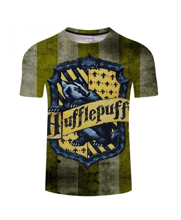 Movie 3D Printed School badge Hufflepuff Men tshirt Crossfit Shirt Casual Summer Short Sleeve Male tshirt Brand Men