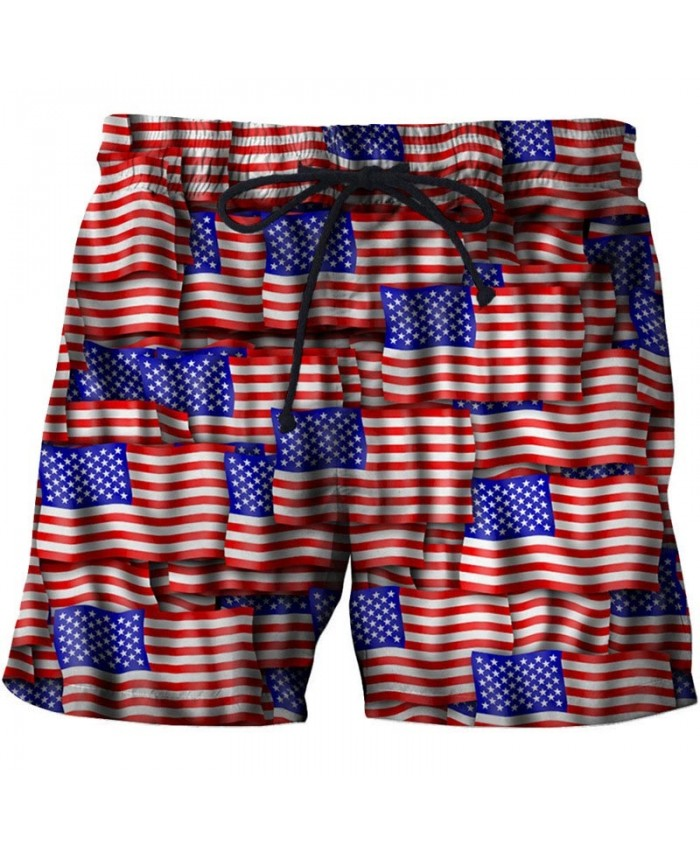 Multi-faceted Flag Men 3D Printed Beach Shorts Summer Male Quick Dry Breathable USA Flag Casual Summer Board Short