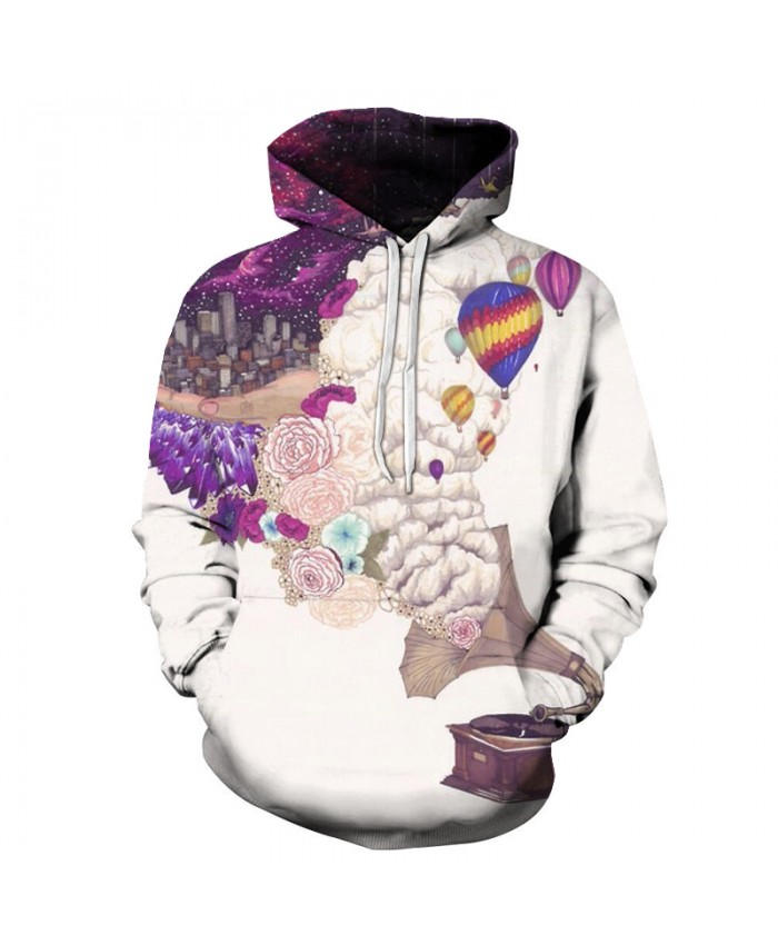 Music Garden 3D Sweatshirts Men/Women Hoodies With Hat Print Fashion Autumn Winter Loose Thin Hooded Hoody Tops