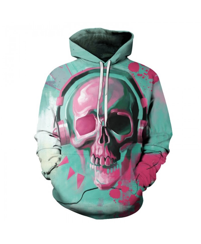 Music Skull Printed 3D Hoodies Hip Hop Sweatshirts Men Women Pullover Unisex Novelty Autumn Outwear Rock Hoodie Male Coats