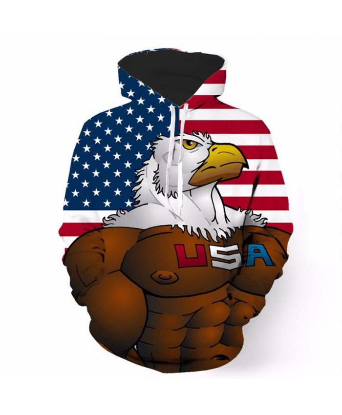 Musical Warrior Eagle American Flag Print Fashion Men Women Sportwear Casual Hoodie Autumn Tracksuit Pullover Hooded Sweatshirt